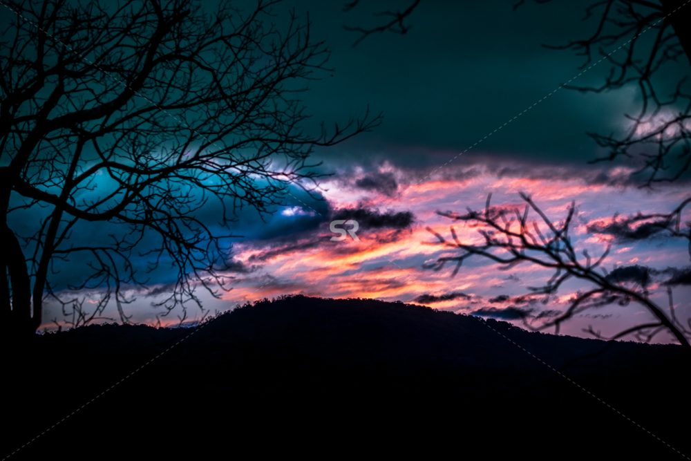 Multi colored sunset in the wilderness