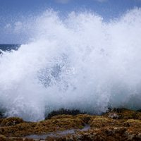 Impressive ocean wave crashing on rocks