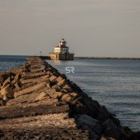 Rocky path leading to dock house in Oswego New York