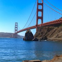 Wide shot of the San Francisco Golden Gate Bridge on a beautiful sunny day in Califorina USA