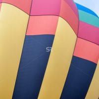 Close up of a hot air balloon with a pattern design