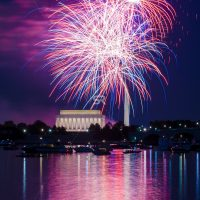 Fireworks launching high in the sky over the Washington Monunment in DC