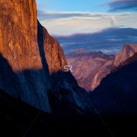 Vibrant sunset over Tunnel View in California's Yosemite National Park