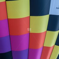 Close up of colored hot air balloon in the sky