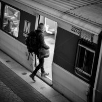 Man boarding the metro in Washington DC