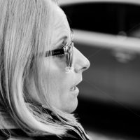 Close up of women with sunglass in Times Square NYC