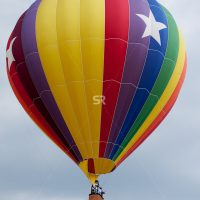 A hot air balloon with a pattern design on