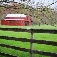 Red Stable surround by trees and beautiful scenery on a cloudy day