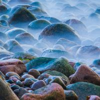 Colorful rocks by the bank of the ocean at Acadia National Park