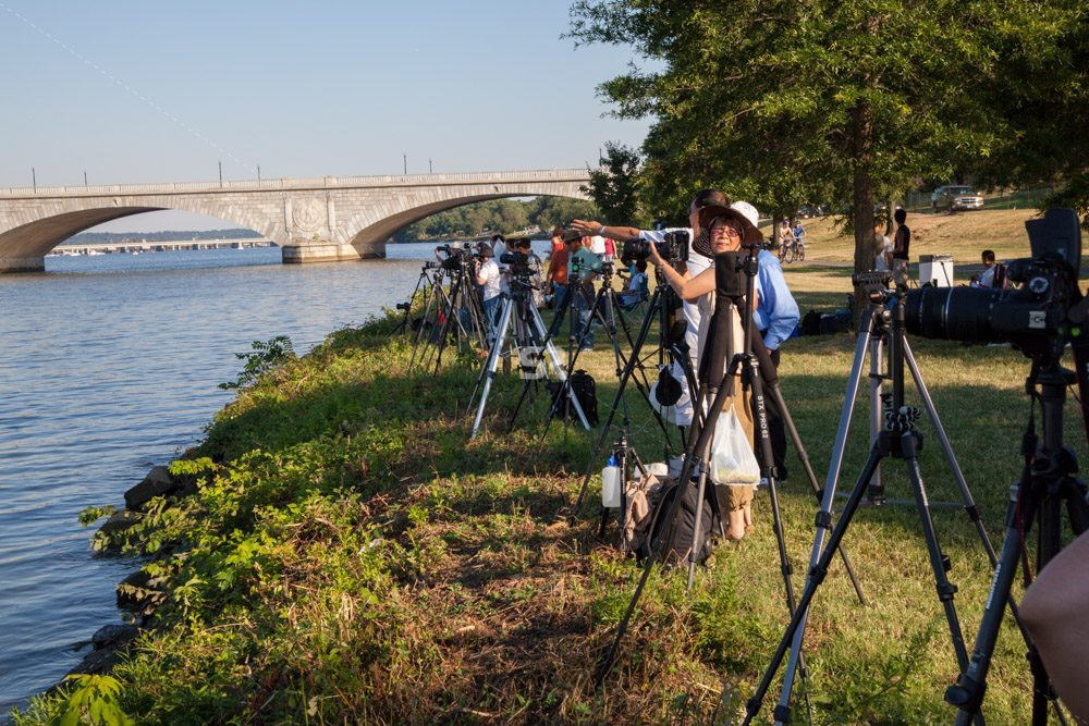 Photographers ready to photograph the fireworks in Washington