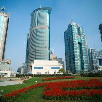 Tall city buildings with garden