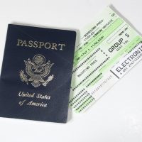 US passport with boarding pass