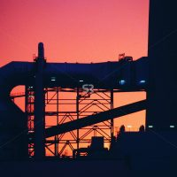 Sunset at an industrial plant