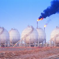 Oil refinery storage tanks