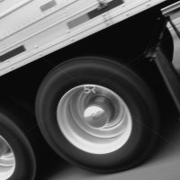 Truck wheels moving at high speed