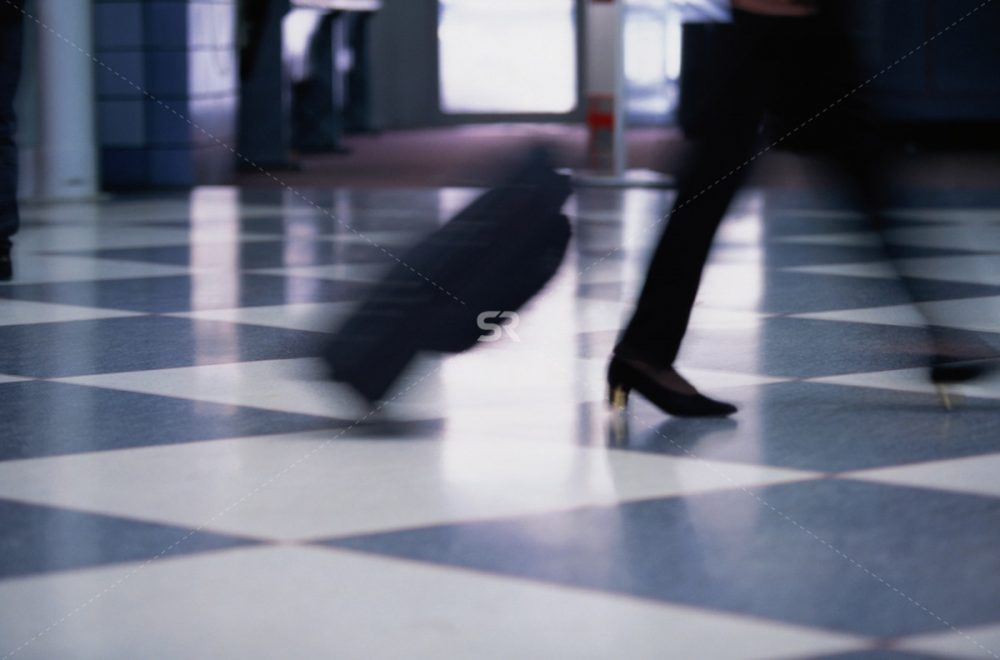 Walking fast with luggage