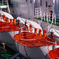 Life boats on a cruise ship