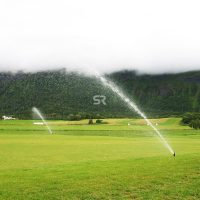 Sprinkler system on field