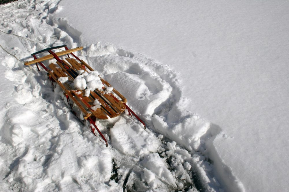 Sled in snow