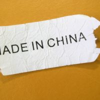 Made in china tag isolated