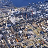 Arial view of oil refinery plant