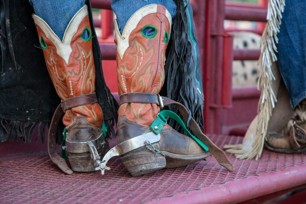 Low angle close up of cowboy boots at the rodeo