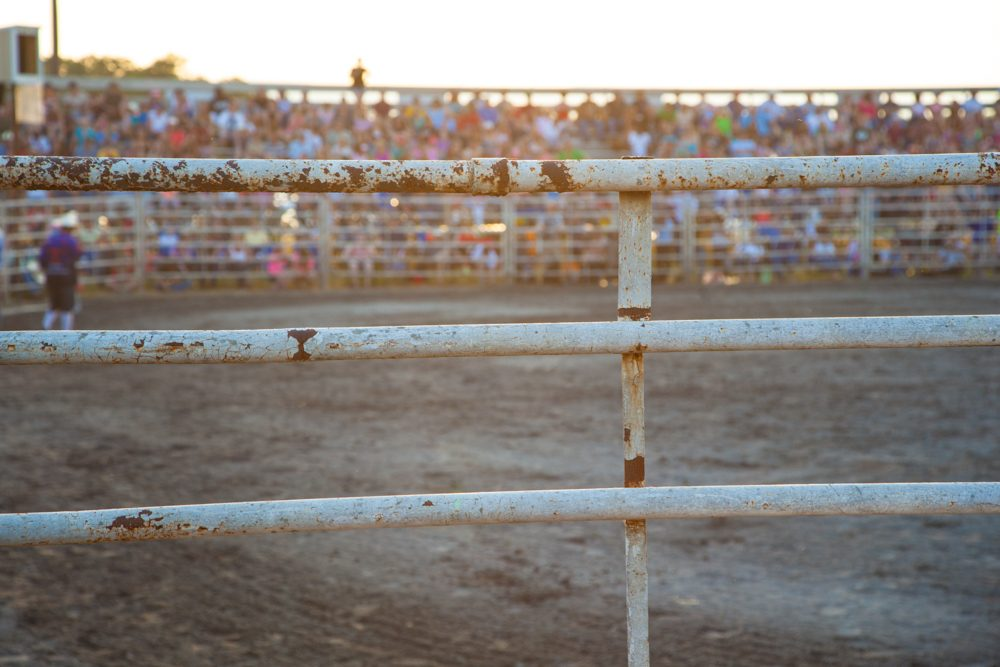 Audience behind the railng watching the rodeo during sunset