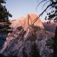 Half Dome Rock Yosemite National Park at Sunset. Pink