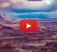 Dead Horse Point Storm landscape at sunset. 5K Time-lapse Utah.