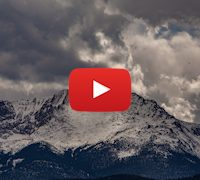 Pikes Peak Mountain from Garden of the Gods National Park. 5K Time-lapse. Colorado.