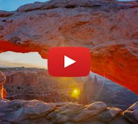 Mesa Arch orange sunrise. 5K Time-lapse